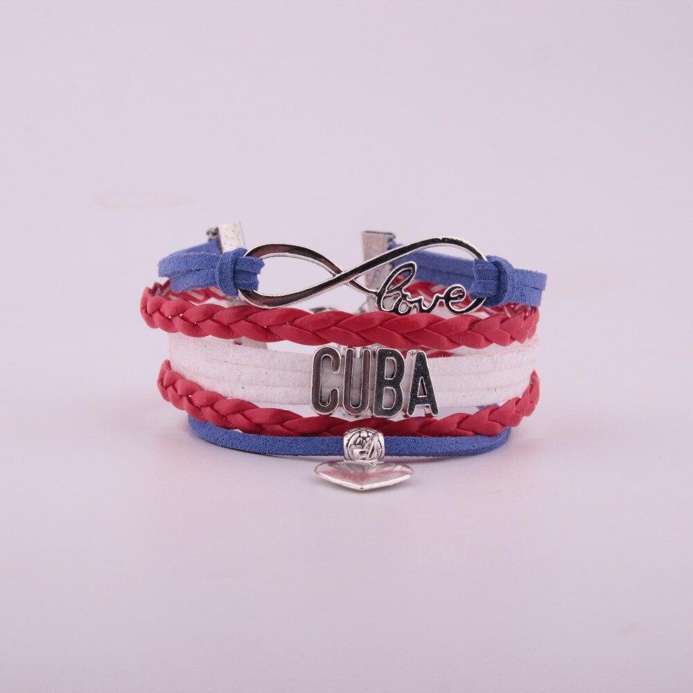 Adattabile Trasporto Di Goccia Unisex Infinity Nazionale Bandiera Cuba Braccialetto Di Fascino Del Cuore Braccialetto Di Cuoio E Braccialetti Per Le Donne Degli Uomini Dei Monili