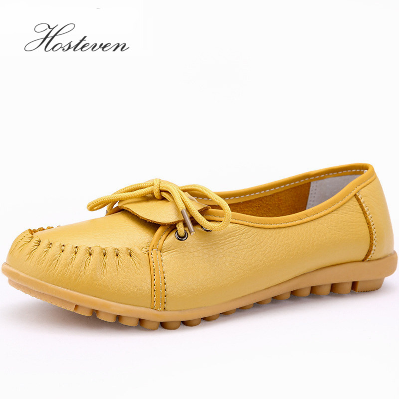 Genuine Leather Women's Shoes Loafers Comfortable Woman Flats Slip On Female Driving Low Heel Solid Mother Casual Shoe pl us size 38 47 handmade genuine leather mens shoes casual men loafers fashion breathable driving shoes slip on moccasins