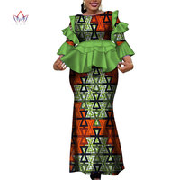 Africa Two Piece Set For Women Fashion 2019 Dashiki more Ruffle African Clothes Bazin Plus Size Lady Clothing for Party WY4142