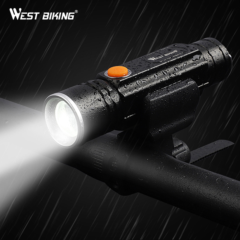 WEST BIKING Bike Light USB Rechargeable Bicycle Front  Lamp 350 Lumens Flashlight Waterproof LED Headlight Cycling Accessories