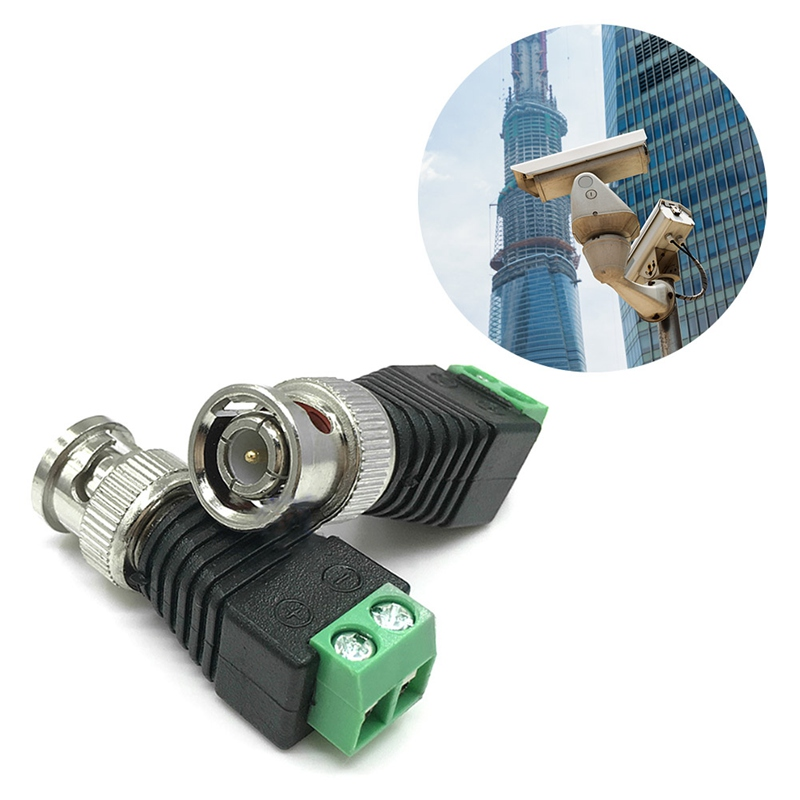 2PCS BNC Male CAT5 CCTV Video Adapter Coaxial Coax Balun Camera TV Connector K9