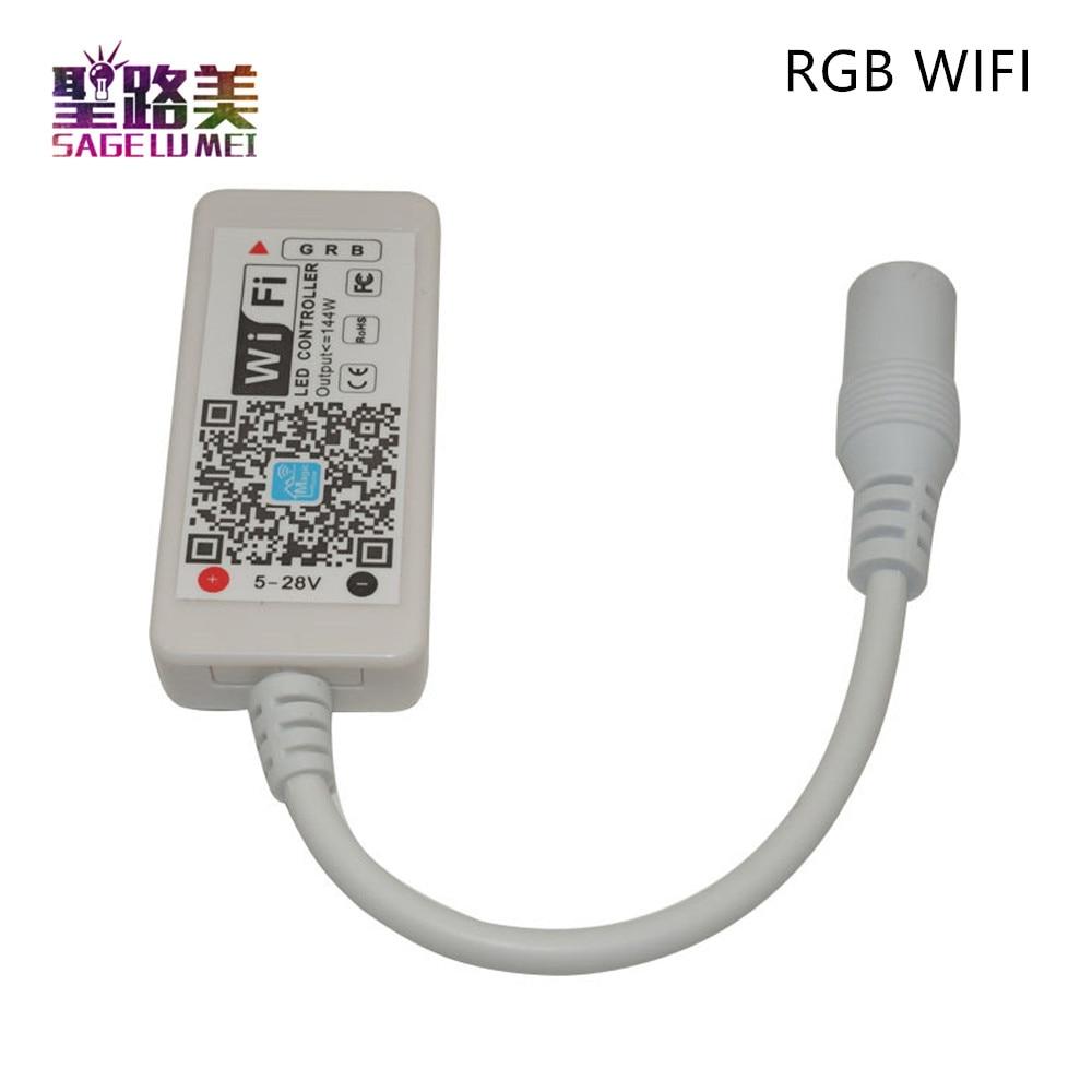DC12-24V MINI WIFI RGB/RGBW/RGBCW led temporizador controlador IR RF control remoto de música por Alexa Google Home Phone WIFI controller