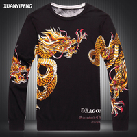 Autumn Men Sweater Autumn Man Wear Large Sizes Sweater Pullover Male Print Dragon Knitted Pullover Black Sweaters Inner Wear