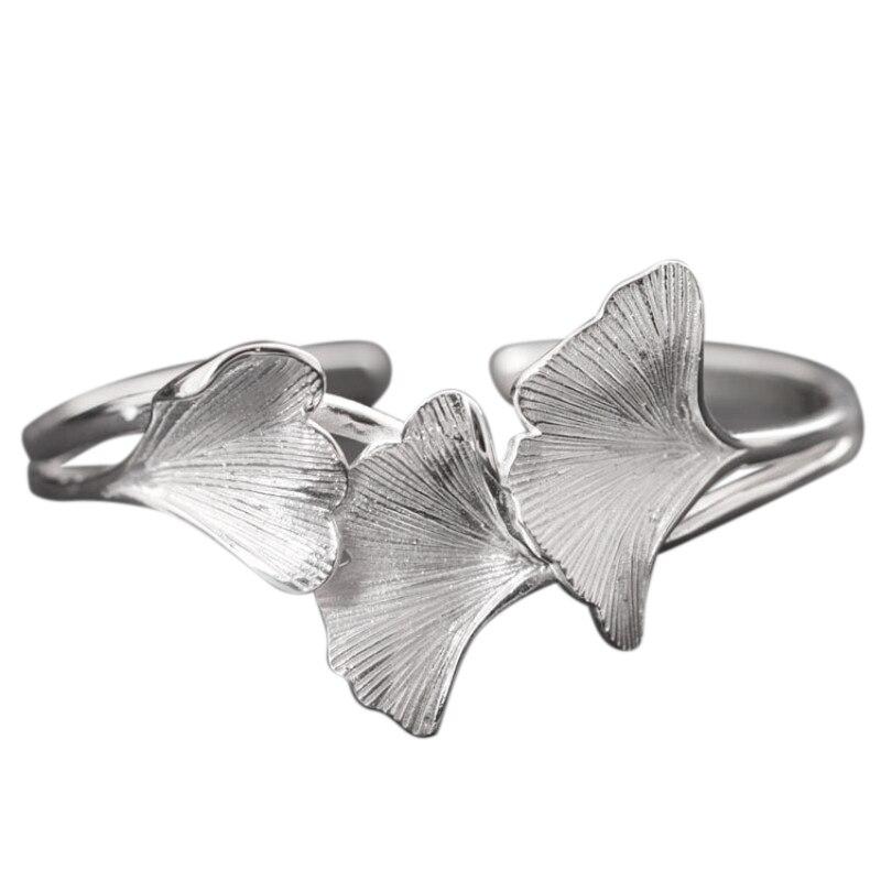 Brazaletes de plata de ley 925 reales hechos a mano para mujer pulseras de apertura de hoja Ginkgo elegante Vintage joyería fina de plata tailandesa-in Brazaletes from Joyería y accesorios    1