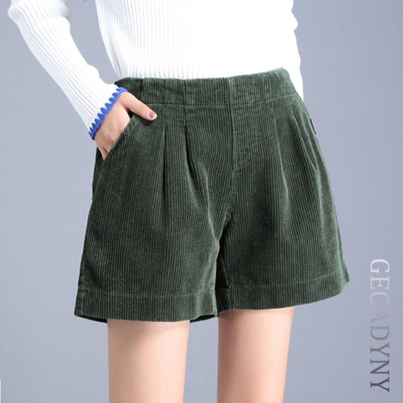 Women Corduroy Harem Shorts Female Autumn Winter Loose Wide Leg Corduroy Shorts Solid Fashionable Comfortable Shorts Woman S-XXL