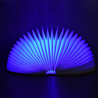 Creative Foldable Pages Led Book Shape Colors Changing Night Light Lighting Lamp Portable Booklight Usb Rechargeable