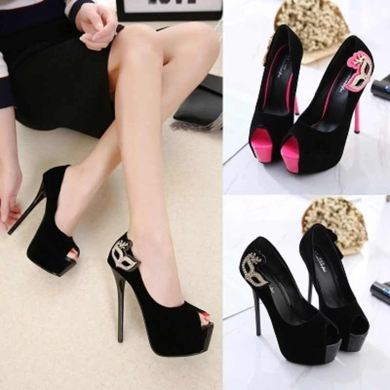 b4eb9ddd4e ... 2019 spring and summer new ladies super high heel fish shoes stiletto  15 cm black red ...