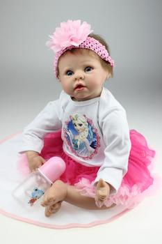 "55cm Simulation Soft Silicone Reborn Baby Doll 22"" Girl Brinquedos Doll Lifelike Newborn Babies Play House Toys for Kids Gifts"