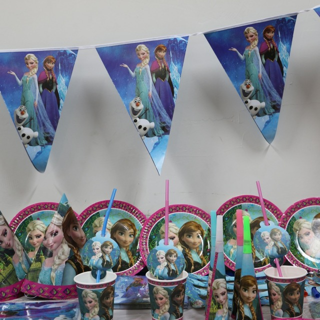 61pcs/lot cartoon elsa anna 20 people paper plate cup napkin banner kid happy birthday : paper plate people - Pezcame.Com
