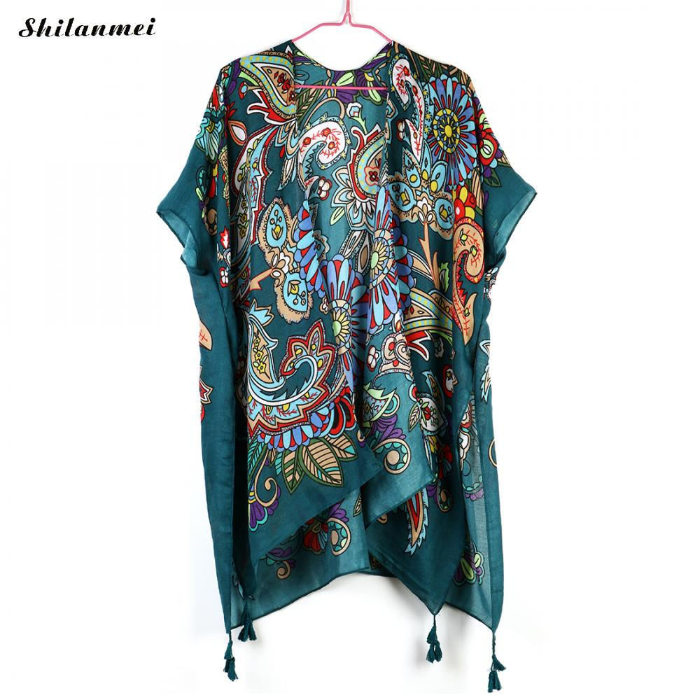 Fashion Boho Woman Cardigans Blouse Floral Printed Tops Shirt blusas mujer de moda 2019 kimono mujer Female Summer Beach