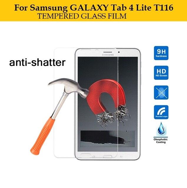 """Mejor premiem 0.3mm de Cristal Templado de cine para Samsung GALAXY Tab 4 Lite T116 7 """"tablet HD películas Anti-añicos Protector de Pantalla de cine"""