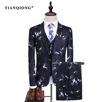 TIAN QIONG Men Wedding Suits 2017 High Quality Black Tuxedos For Men Famous Brand Peacock Printed