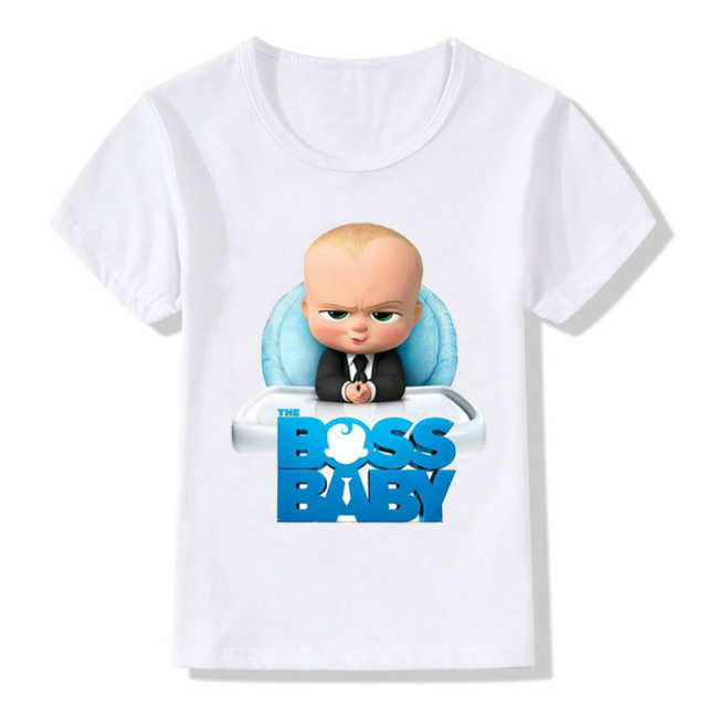 8cd380b30 2018 children Boss Baby white T-shirt short-sleeved boys and girls summer  dress