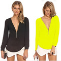 Hot Sale Women Chiffon Blouse V-neck Long Sleeve Thin Office Lady Fashion Zipper Tops Shirt Candy Color