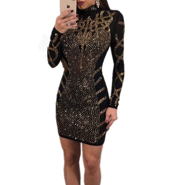 1908d74b8dad Fashion Rhinestone Diamonds Embellished Slim Bodycon Dress Women Turtleneck Long  Sleeve Perspective Party Nightclub Mini Dress