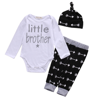 2017 New Cute Newborn Baby Boy Clothes Little Brother Romper Pants Leggings Beanie Hat 3pcs Outfits