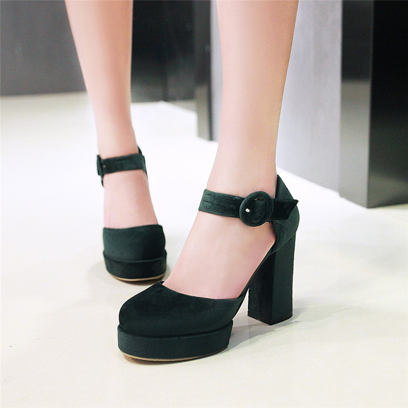 YMECHIC Lady s Spring Summer Mary Jane Chunky High Heels Shoes Flock Buckle Womens Green Black