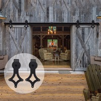 LWZH Country Style 14FT 15FT Antique Sliding Doors Barns Rhombus Shaped Black Sliding Hardware Rail Track