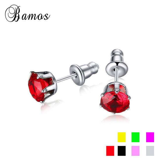 Bamos Female Druzy Round Stud Earrings White Red Purple Black Cubic Zirconia