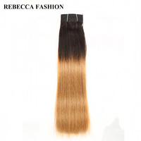 Rebecca Non Remy Brazilian Silky Straight Weave Human Hair Bundles T1B 27 Light Brown Pre Colored
