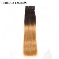 Rebecca Non Remy Brazilian Silky Straight Weave Human Hair Bundles T1B 27 Light Brown Pre Colored
