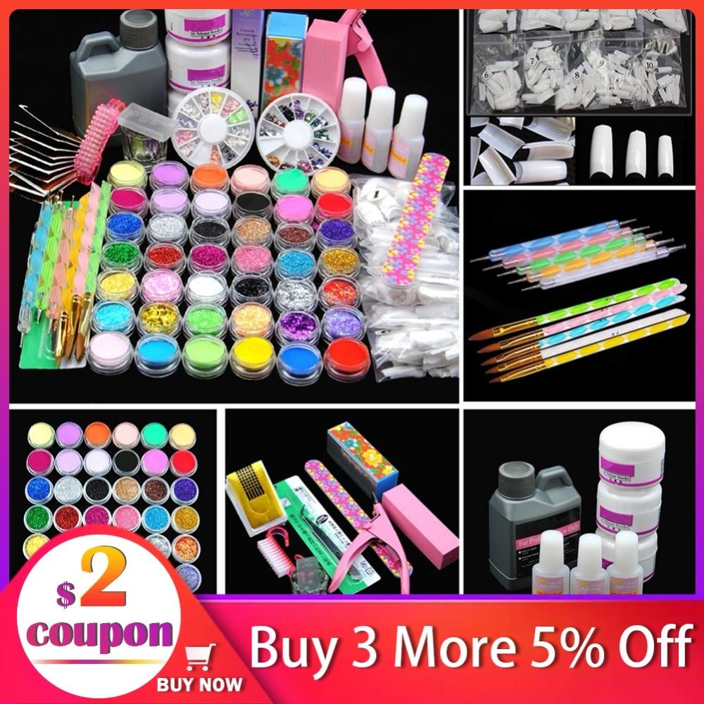 Pro Acrylic Power Manicure Nail Kit Acrylic Tips Cutter Glitter Rhinestones File Brush Manicure Nail Art Tool Set Gel Kit