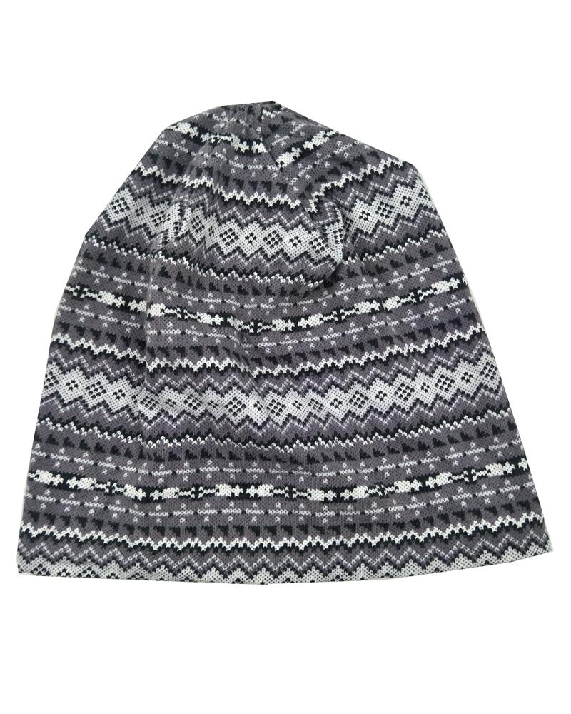 B17887 NEW fashion stretchy aztec stripe printed hats hair accessory for women skullcap design custom warmth winter beanies
