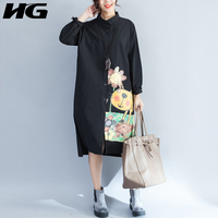 [HG] 2017 Autumn New Women Casual Solid Colod Blouses Turn-Down Collar Character Print Full Sleeve Shirt KY754