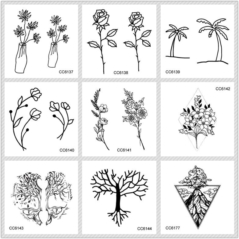 Rocooart שחור לבן סגנון קעקוע עץ מדבקה פרח - קעקוע ואמנות גוף
