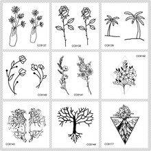 Rocooart Black White Style Tattoo жапсырма Tree Taty Flower Уақытша Tattoo жапсырма үшін Body Art Tatouage Wolf Space Fake Tattoo