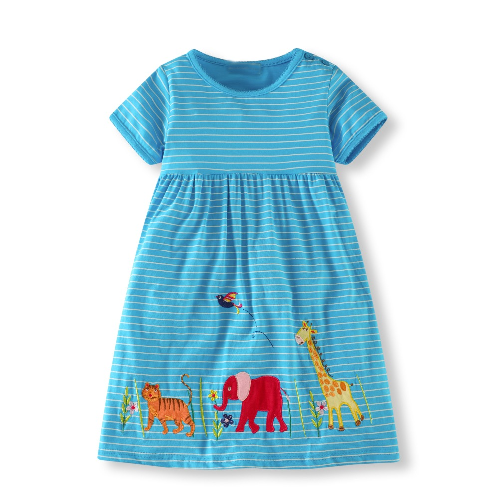 Baby Girls Dress 2018 Summer Girl Party Dress Children Clothing Animal Applique Princess Costume Kids Dresses for Girls 2-7T