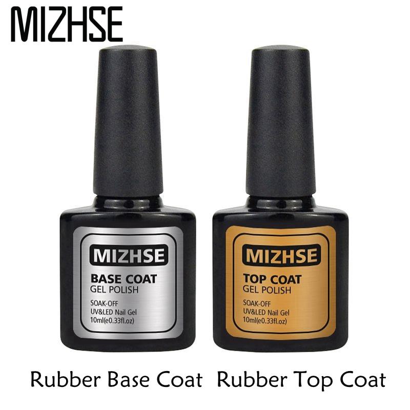 MIZHSE Rubber Gel Base of Nail Top Base Coat Gel Polish UV LED No Clean Top Coat UV Gel Varnish Soak off Nail Primer Foundation