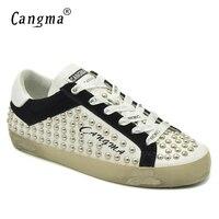 ספורט הרבעה נקבת סתיו CANGMA הנעלה פלטפורמת דירות נשים נעלי נשות נעלי אופנה עם מסמרות עור אמיתי לבן