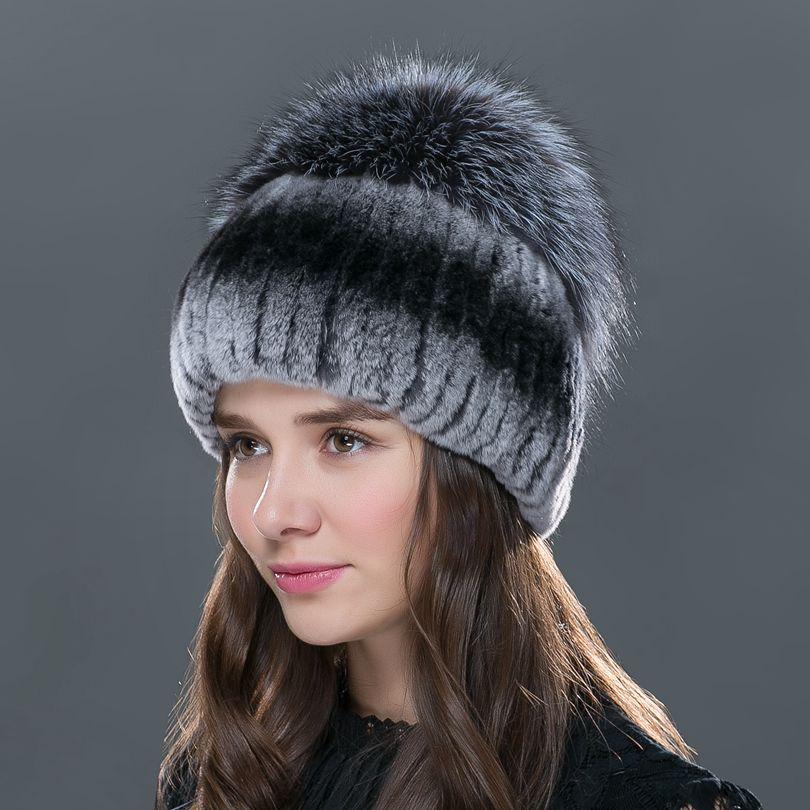 ФОТО LTG FUR 2016 new fashion  women winter   hat for   with fox fur top female elastic knitted cap Winter women rex rabbit fur hat