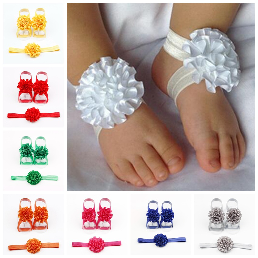 Yundfly Cute Baby Girls Newborn Flower Headband With Ribbon Flower Barefoot Sandal Shoes Set Children Accessories Photo Shoot