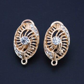 Clip Earring Post with Loop Connectors Paved CZ Filigree Kenya Ghana African Women Wedding Earrings Findings DIY Jewelry Making