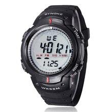 Nuevos hombres de la moda deportiva relojes synoke marca led digital reloj electrónico 50 m impermeable al aire libre vestido de pulsera reloj militar