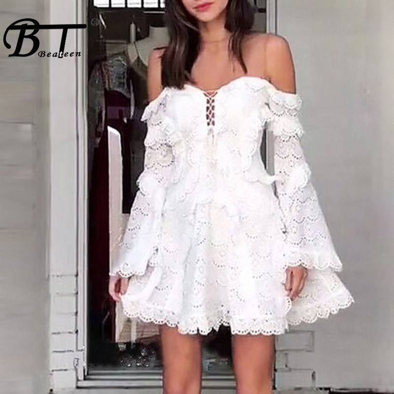 Beateen 2019 New Fashion Women Sexy O Neck Mesh Lace Off The Shoulder Long Flare Sleeve A-Line Party Club Ruffles Mini Dress