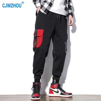 2019 Cargo Pants Men Cotton Polyester Pants Male With Stitching Color Many Pockets Ankle Elastic Men New Casual Pants m 5xl Size