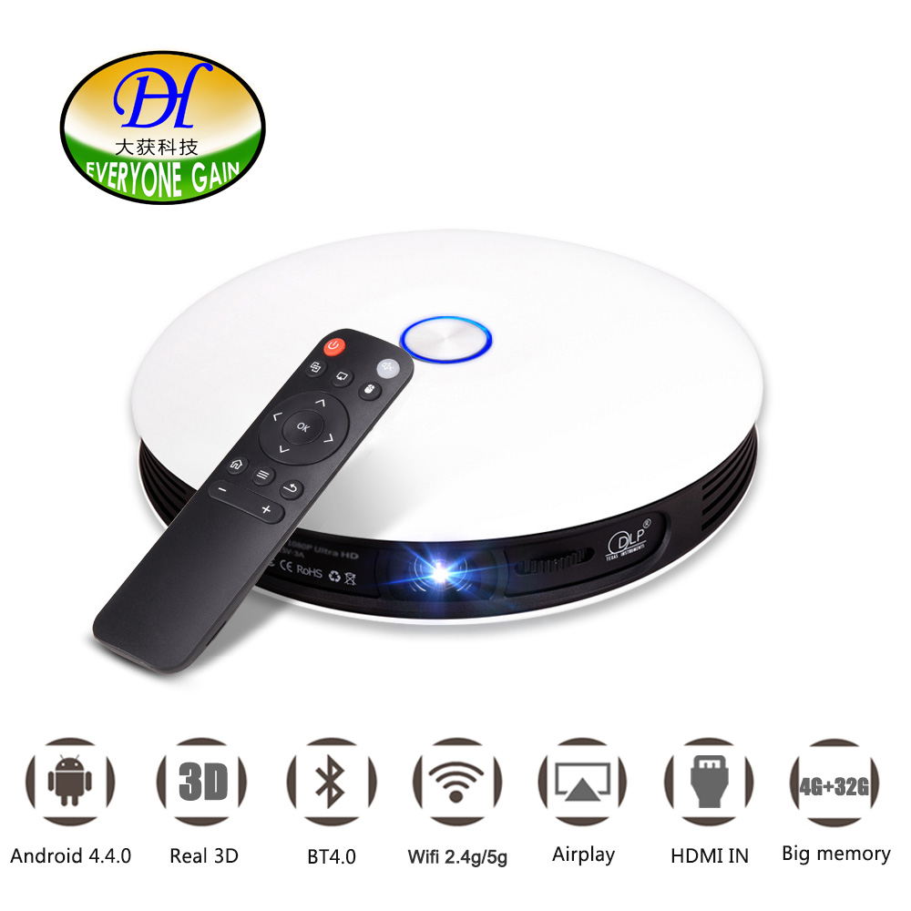 Everyone Gain A08 DLP Projector HD Android 1080P 300 inch Screen 1280 x 720 WiFi 12000mAh Mini Smart Home Cinema 3D Proyector