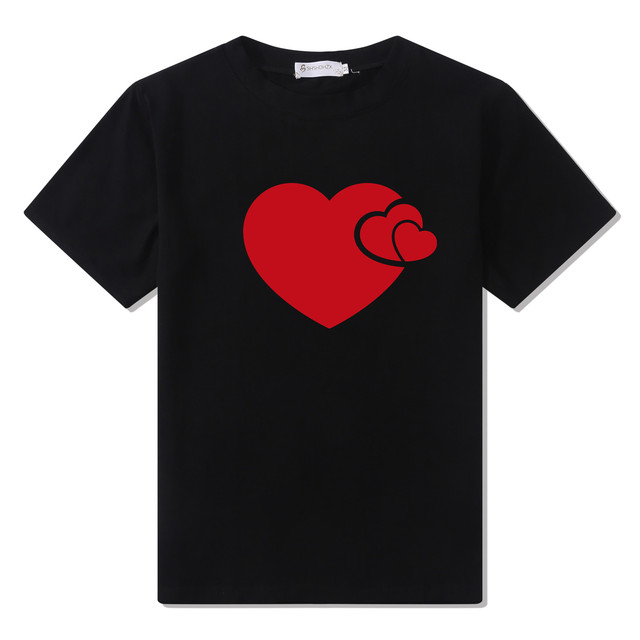 Casual Elastic Heart Shaped Women's Cotton T-Shirt
