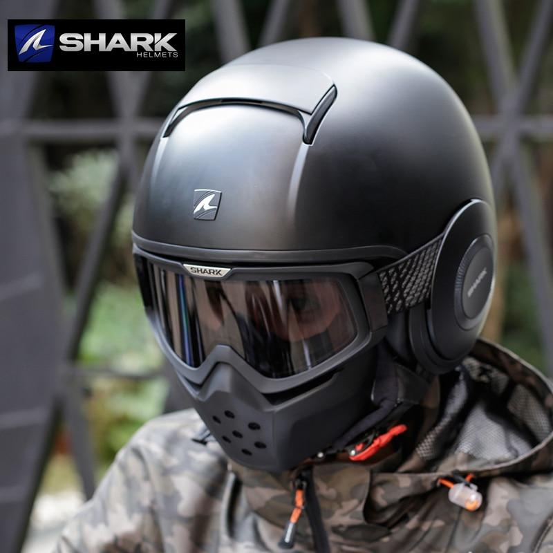 dot 100 original shark raw drak blk helmets french motorcycle retro capacete moto vintage blank. Black Bedroom Furniture Sets. Home Design Ideas