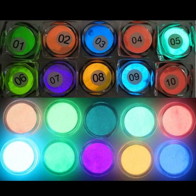 10 Colors Luminous Nail Glitter Powder Resin Neon Phosphor Pigment Dye UV Resin Epoxy DIY Making Jewelry Nail Art Decorations 1