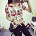 2016 mulheres de verão t-shirt roupas o-pescoço solta de manga curta impresso assentamento Tops frete grátis