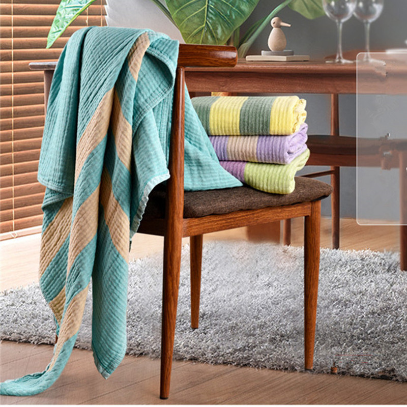 ФОТО Bright Color Sporty Style 100% Cotton Summer Blankets/Quilts Skin-Kindly Striped Kid's Towel Blankets Multiple-Use Sheets
