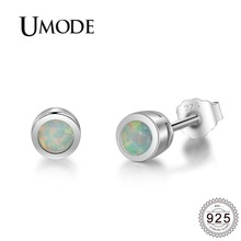 UMODE 2019 New Fashion 925 Silver White Opal Stud Earrings for Women Gold Studs Cute Round Stone Jewelry Gift ALE0484
