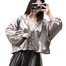 2018 New Solid Color Women's Spring Hooded Basic Jacket Bomber Coat Harajuku High Quality Satin Long Sleeve Zipper Jackets