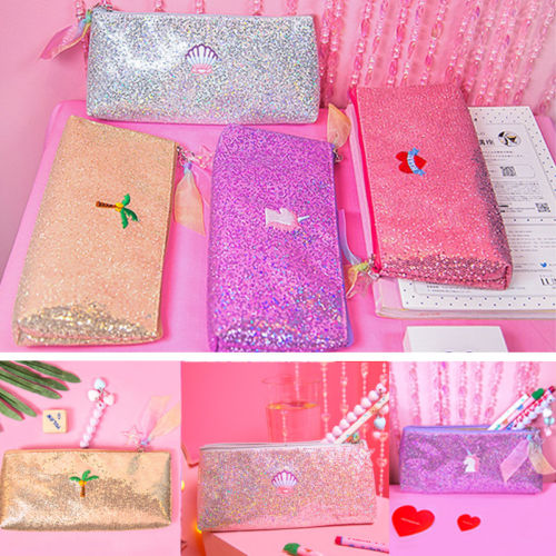 Hot Student Glitter Sequin Pen Bag Pencil Case Cosmetic Bags Makeup Organizer Bags ...