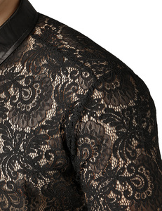 Image 5 - Malha masculina ver através fishnet clubwear camisas fino ajuste manga longa sexy camisa de renda masculina festa evento baile de formatura transparente chemise 2xl