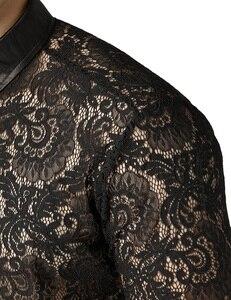 Image 5 - Mens Mesh Fishnet Clubwear Shirts 슬림 피트 롱 슬리브 섹시한 레이스 셔츠 남성 파티 이벤트 Prom Transparent Chemise 2XL